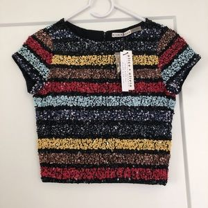 Alice and Olivia Sequined Top Size 2 New